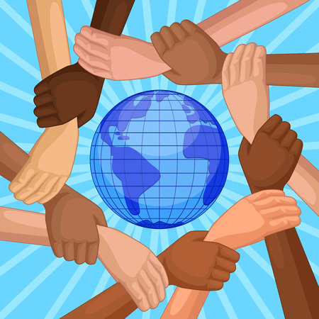 People of different races holding hands around the planet Earth. top view of hands of different skin colors. Concept international Happy Friendship day. Illustration