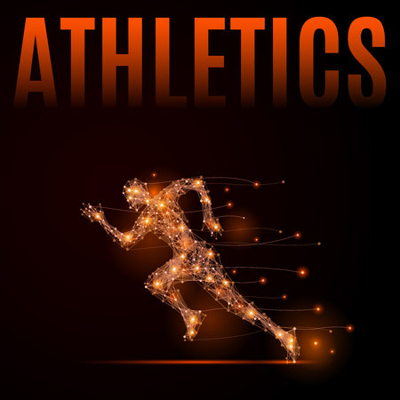 Abstract line athlete in motion. Silhouette of a man made of lines and points. Background Athletics. Fire style illustration