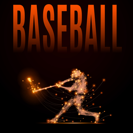 Abstract line baseball player in motion. Silhouette of a man made of lines and points. Polygonal background baseball competitions. Illustration