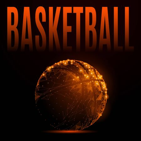 ball point: Abstract mash line and point basketball ball in flames style on dark background with an inscription.
