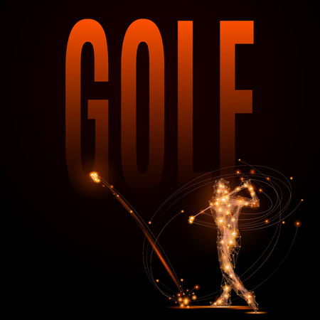 hits: Abstract line Golfer hits the ball. Silhouette of a man made of lines and points in motion. Polygonal background golf competitions.