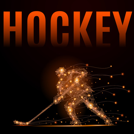 Hockey player slides on the ice with a stick. Geometric illustration. Abstract polygonal wire frame mesh