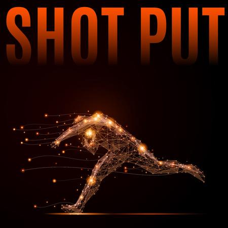 lanzamiento de bala: disparo poligonal puso atleta en movimiento. Silueta de un hombre hecho de líneas y puntos. Vectores
