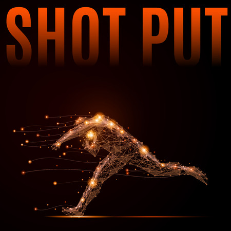 by shot: Polygonal shot put athlete in motion. Silhouette of a man made of lines and points.