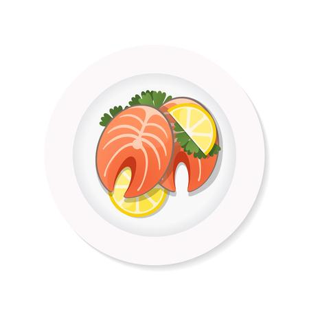 salmon steak with lemon on a white plate.