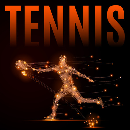 Abstract line tennis player in motion. Silhouette of a man made of lines and points. Polygonal background tennis competitions. 向量圖像