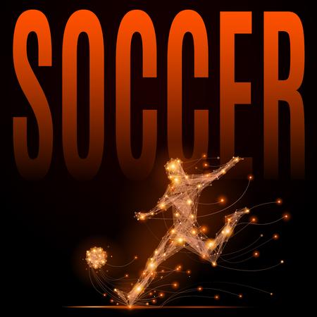 Jugador de fútbol que golpea la pelota. Resumen silueta de jugador de fútbol de líneas brillantes y puntos en movimiento. Imitación atletas ardientes cuerpo.