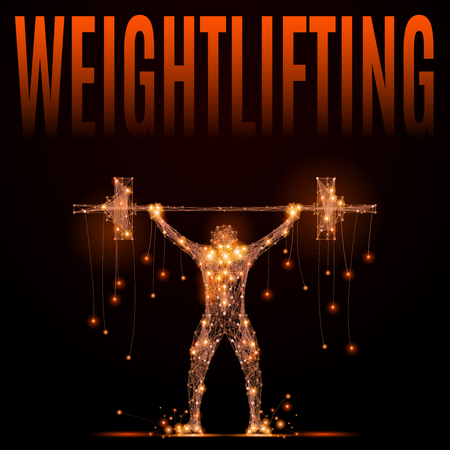 jolt: Weightlifter raises the bar over your head in motion. Jolt or jerk weightlifting projectile. Element circuit training. Abstract silhouette of glowing lines and points.