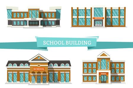 Schoolgebouwen op wit.