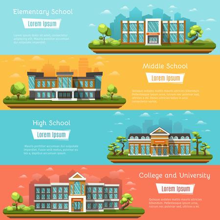 edificios primarias y secundarias de la escuela al aire libre. College y la Universidad. La escuela secundaria en el paisaje. Cuatro banderas horizontales con lugar para el texto.