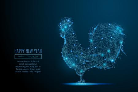 Abstract beeld van een nieuw jaar haan in de vorm van een sterrenhemel of ruimte, bestaande uit punten, lijnen en vormen in de vorm van planeten, sterren en het heelal. Christmassy vector wireframe concept. Stock Illustratie