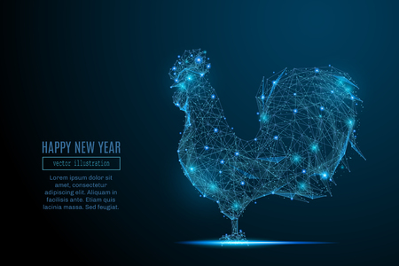Abstract image of a new year rooster in the form of a starry sky or space, consisting of points, lines, and shapes in the form of planets, stars and the universe. Christmassy vector wireframe concept. Иллюстрация