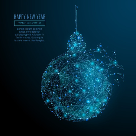 Abstract image of a new year ball in the form of a starry sky or space, consisting of points, lines, and shapes in the form of planets, stars and the universe. Christmassy vector wireframe concept.