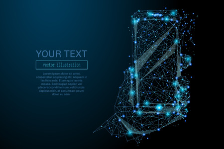 Abstract image of a smartphone in hand in the form of a starry sky or space, consisting of points, lines, and shapes in the form of planets, stars and the universe. Smartphone vector wireframe concept Иллюстрация
