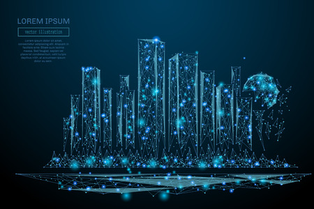 Abstract image of a Megalopolis in the form of a starry sky or space, consisting of points, lines, and shapes in the form of planets, stars and the universe. Big city vector wireframe concept Иллюстрация