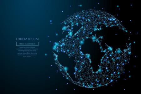 Abstract beeld van een planeet Aarde in de vorm van een sterrenhemel of ruimte, bestaande uit punten, lijnen en vormen in de vorm van planeten, sterren en het universum. Aarde vector wireframe concept