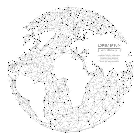 Abstracte veelhoekige ruimte laag poly planeet aarde met het verbinden van punten en lijnen. Verbindingsstructuur draadframe. Futuristische vectorillustratie. Stock Illustratie