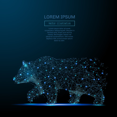 stars sky: Abstract image of a bear in the form of a starry sky or space, consisting of points, lines, and shapes in the form of planets, stars and the universe. Strength and power vector wireframe concept