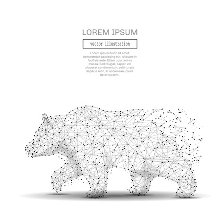 Abstract polygonal space low poly bear with connecting dots and lines. Wireframe Business Strength and power connection structure. Futuristic Vector Illustration.
