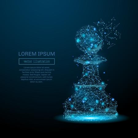 Pieza de ajedrez peón que consiste en puntos, líneas y formas luminosos. Resumen de la ilustración estrategia de negocio de un cielo estrellado de las galaxias. Vector para la presentación de negocios.