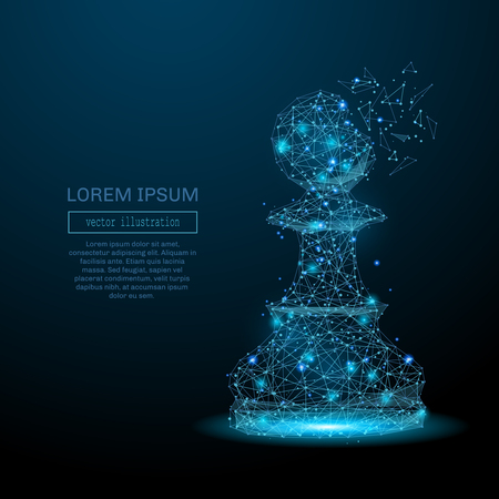 Chess piece pawn consisting of points, lines and luminous forms. Abstract business strategy illustration of a starry sky of galaxies. Vector for business presentation .