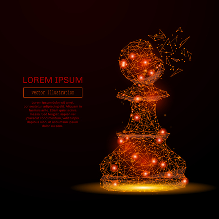 pawns: Abstract mash line and point chess pawn in flames style on dark background with an inscription. Business strategy of a starry sky or space, consisting of stars and the universe. Vector illustration