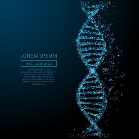 Polygonal DNA concept. Vector mesh spheres from flying debris. Thin line concept. Blue structure style illustration Illustration