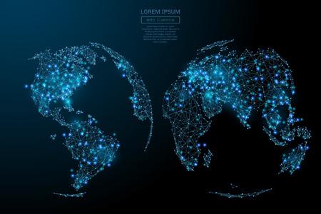 Abstract beeld van een kaart van de wereld in de vorm van een sterrenhemel of ruimte, bestaande uit punten, lijnen en vormen in de vorm van planeten, sterren en het heelal. Wereld vector wireframe concept.