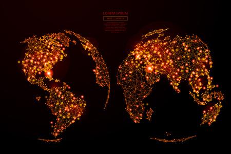 Resumen línea puré y la Tierra punto en el estilo de las llamas en el fondo oscuro con una inscripción. Mapa del mundo de un cielo estrellado o en el espacio, que consiste en las estrellas y el universo. ilustración vectorial