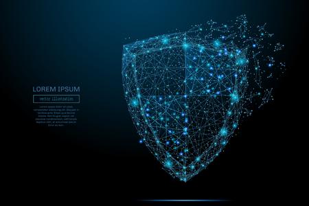 セキュリティ シールドは、ポリゴンで構成されます。データ保護のビジネス ・ コンセプトです。星空や Comos の低ポリ ベクトル イラスト。シールドは、線、点と図形で構成されます。