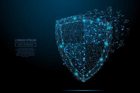Security Shield composed of polygons. Business concept of data protection. Low poly vector illustration of a starry sky or Comos. The shield consists of lines, dots and shapes.