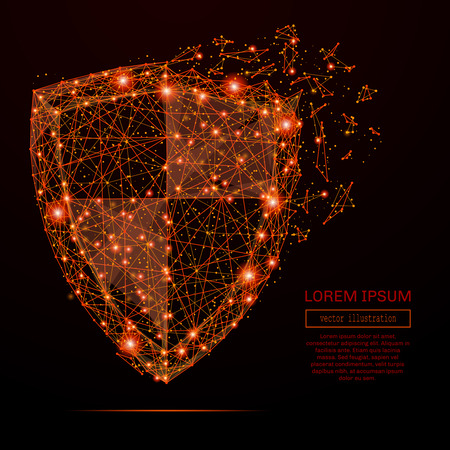 Abstract mash line and point shield in flames style on dark background with an inscription. Business vector concept of data protection. Starry sky or space, consisting of stars and the universe.