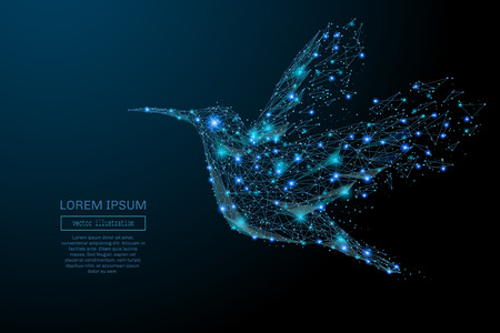Abstract image of a colibri in the form of a starry sky or space, consisting of points, lines, and shapes in the form of planets, stars and the universe. Colibri vector wireframe concept.