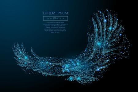 Águila en vuelo de puntos poligonales abstractos azules. águila poli baja en movimiento, líneas y conectado a la forma, ilustración vectorial. Ilustración de vector