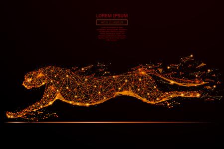 Abstracte mash lijn en punt cheetah in vlammen stijl op een donkere achtergrond met een inscriptie. Zakelijk netto snelheid van een sterrenhemel of ruimte, bestaande uit sterren en het heelal. vector illustratie