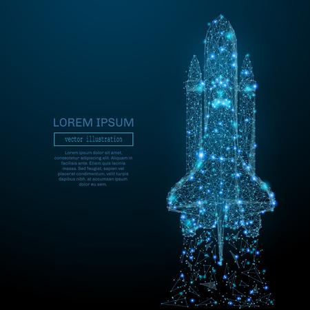 Abstract image d'une navette spatiale sous la forme d'un ciel étoilé ou dans l'espace, comprenant des points, des lignes et des formes sous la forme de planètes, les étoiles et l'univers. Cosmos concept de vecteur wireframe. Vecteurs