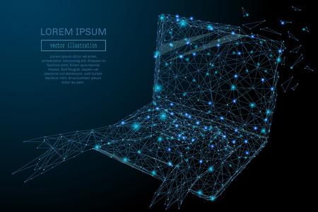 3D-laptop Blauwe Abstracte mesh achtergrond met cirkels, lijnen en vormen. Ontwerp computer lay-out voor uw bedrijf. Vector sterrenhemel concept. Stock Illustratie