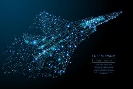 chorro: avión de combate en vuelo de puntos poligonales abstractos azules. combatiente poli baja en movimiento, líneas y conectado a la forma, ilustración vectorial.