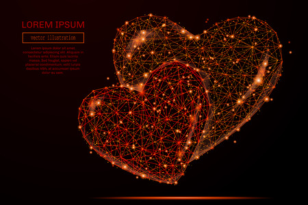 Abstract mash line and point two hearts in flames style on dark background with an inscription. Starry sky or space, consisting of stars and the universe.