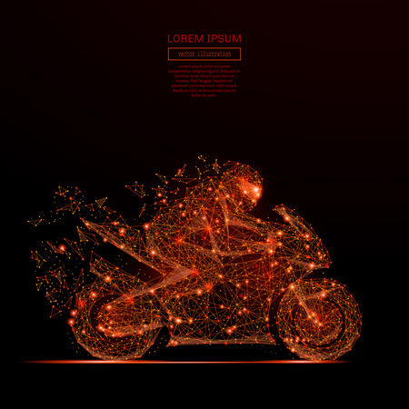 Abstract mash line and point motorcycle racing in flames style on dark background with an inscription. Starry sky or space, consisting of stars and the universe Vector illustration Illustration