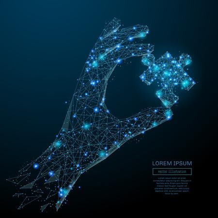 Abstract beeld van een hand die puzzel in de vorm van een sterrenhemel of ruimte, bestaande uit punten, lijnen en vormen in de vorm van planeten, sterren en het heelal. Vector business wireframe concept. Stockfoto