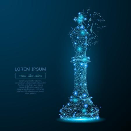 Abstract beeld van een koning van het schaakspel in de vorm van een sterrenhemel of ruimte, bestaande uit punten, lijnen en vormen in de vorm van planeten, sterren en het heelal. vector business