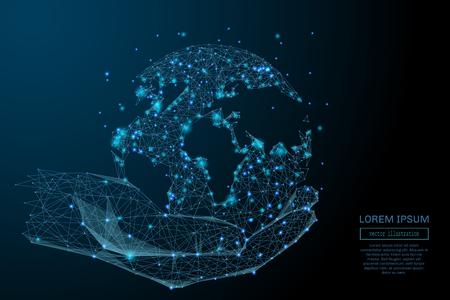 Abstract beeld van een bedrijf wereldwijd in handen in de vorm van een sterrenhemel of ruimte, bestaande uit punten, lijnen en vormen in de vorm van planeten, sterren en het heelal. vector business Stockfoto