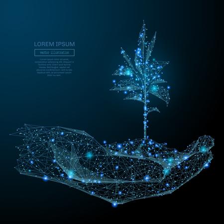 인간의 손, 별이 빛나는 하늘, 공간의 형태로 새싹을 들고 행성, 별과 우주의 형태로 점, 선, 도형 구성의 추상적 인 이미지. 벡터 비즈니스