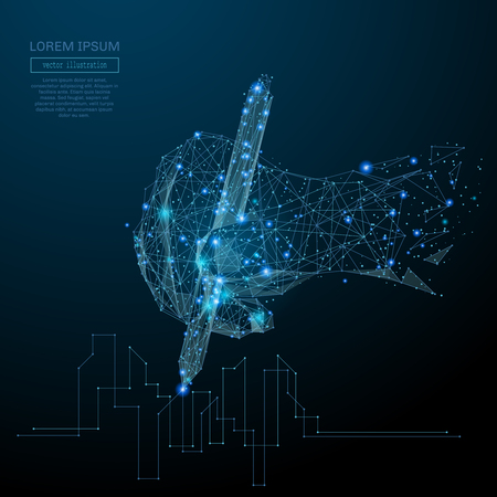 Abstract image of a hand draws a drawing in the form of a starry sky or space, consisting of points, lines, and shapes in the form of planets, stars and the universe. Vector business wireframe concept