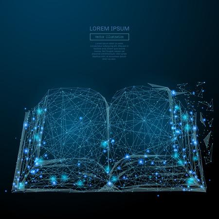 Abstract beeld van een open boek in de vorm van een sterrenhemel of ruimte, bestaande uit punten, lijnen en vormen in de vorm van planeten, sterren en het heelal. vector business Stockfoto
