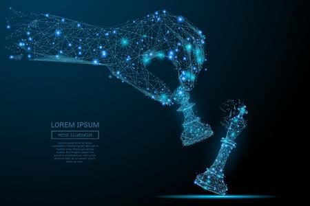 Abstract beeld van een hand met schaken pion in de vorm van een sterrenhemel of ruimte, bestaande uit punten, lijnen en vormen in de vorm van planeten, sterren en het heelal. Vector business concept.