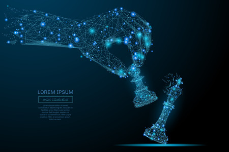 Abstract image d'une exploitation d'échecs pion sous la forme d'un ciel étoilé ou dans l'espace, comprenant des points, des lignes et des formes sous la forme de planètes, les étoiles et l'univers main. Vector business concept. Banque d'images - 71469756