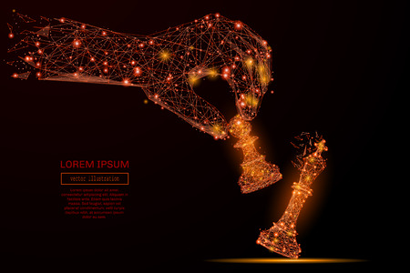 Abstract mash line and point hand holding chess pawn on background with an inscription. Starry sky or space, consisting of stars and the universe. Vector business illustration