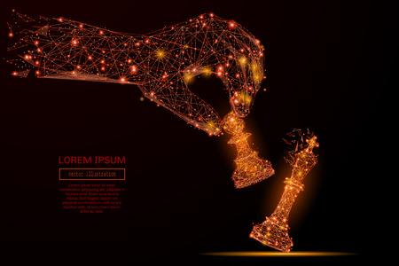 Zusammenfassung Maische Linie und Punkt Hand halten Schach Pfand auf Hintergrund mit einer Inschrift. Sternenhimmel oder Raum, bestehend aus Sternen und dem Universum. Vector Business Illustration Standard-Bild - 72064739